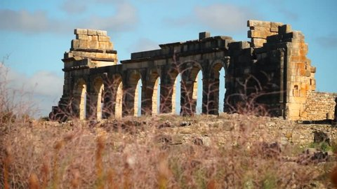Roman ruins at the archaelogical UNESCO Heritage site of Volubilis in Morocco.
