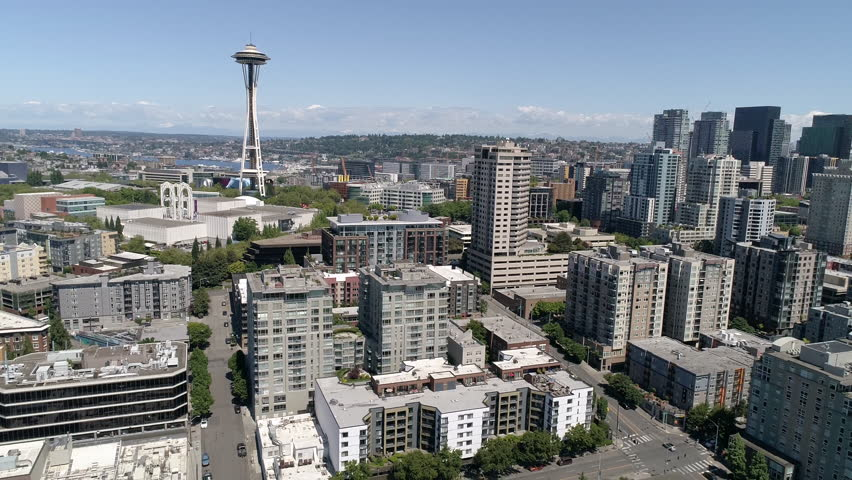 Stunning Helicopter View of Downtown Seattle on Sunny Summer Day in Pacific Northwest CItyscape