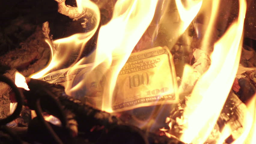 High quality video of burning money in real 1080p slow motion 250fps