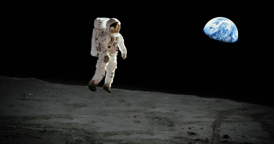 Astronaut Jumping on Moon and Landing Earth in Background Animation some elements furnished by NASA images