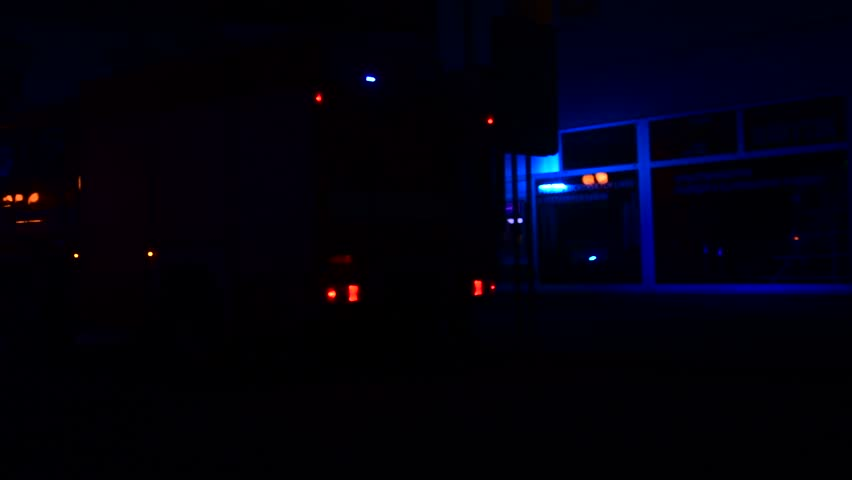 Fire engine (truck) and ambulance car at night. Emergency lights, firemen and medical staff. Fire engine intervention. Firefighters and firebrigade. | Shutterstock HD Video #27583765