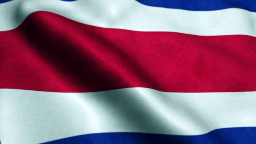 Flag of Costa Rica gently waving in the wind. Seamless loop with high quality fabric material.