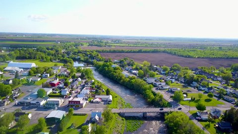 UHD aerial fly over of a small rural town