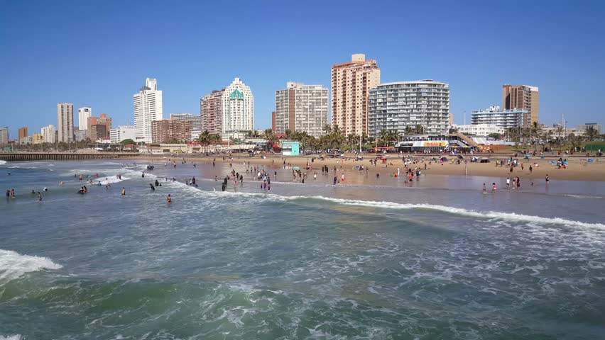 A sunny day a Durban beach in South Africa