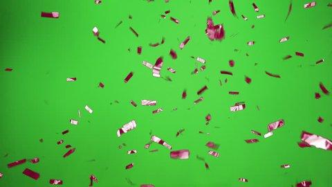 Confetti Falling Beautiful In purple  With Green Screen