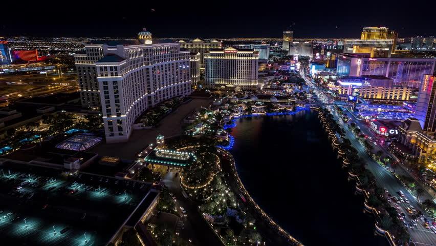 Las Vegas, Nevada, USA - June 6th 2017 - Las Vegas Aerial Timelapse at Night With Panning