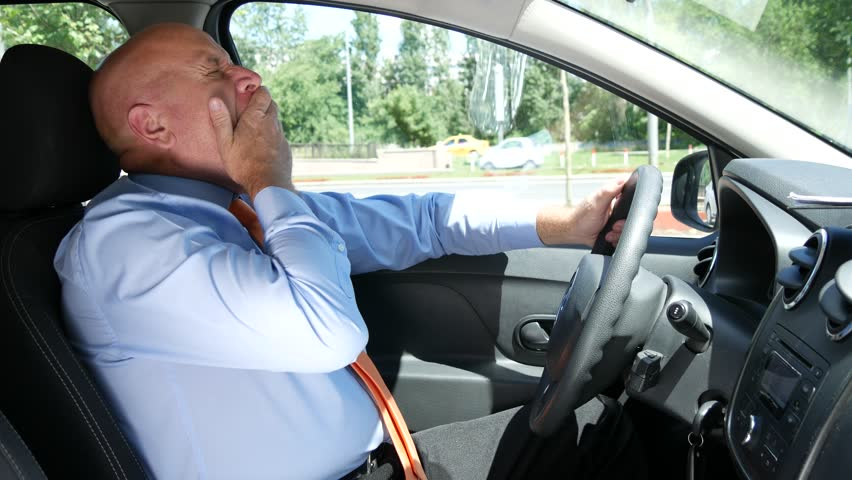 Tired Man in Driver Chair Yawning and Feel Asleep in Time the Car Is Stationed (Ultra High Definition, UltraHD, Ultra HD, UHD, 4K, 3840x2160)