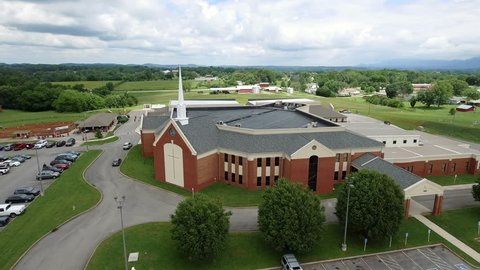 Aerial shot of the church 4k