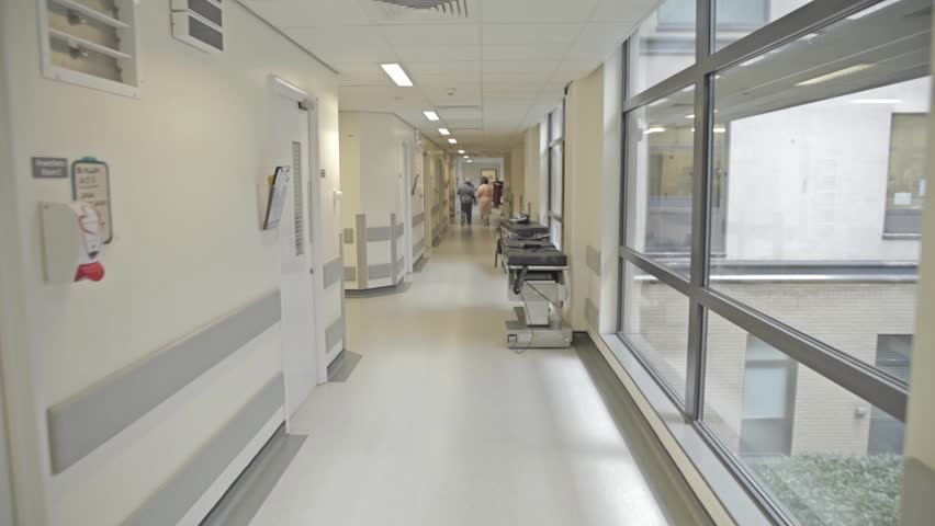 DERBY, UK, APRIL 2016 - Dolly shot down hospital corridor