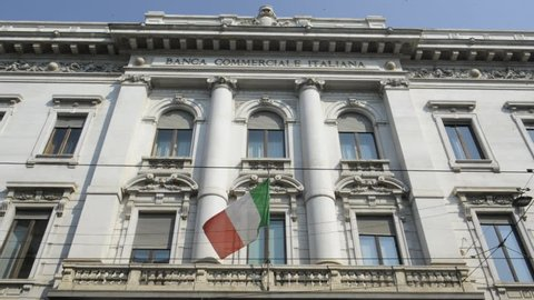 Milan - Commercial Italian bank with flag