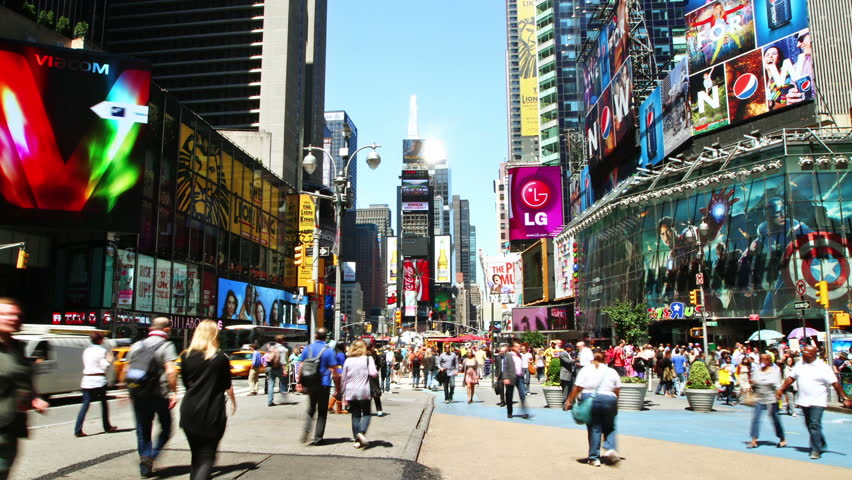 NEW YORK CITY - MAY 21: Timelapse of Times Square traffic at daytime, on May 21, 2012 in New York