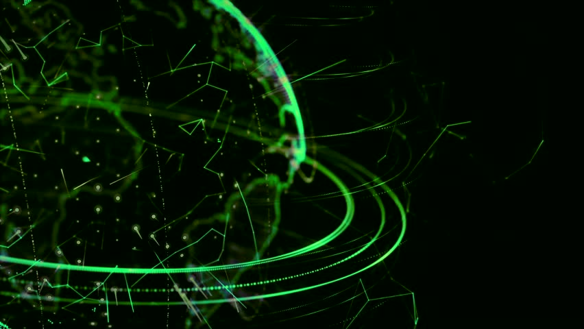3d animation of a growing network across the world - green version. HD
