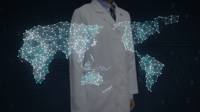 Female scientist, engineer touching screen, Internet shopping icon connect global world map, grow online commerce network. | Shutterstock HD Video #27742375