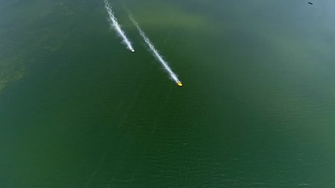 Aerial view off racing boats on the river