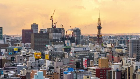 SAPPORO, JAPAN - FEBRUARY 18, 2017: Sapporo, Japan downtown cityscape from dusk to night.
