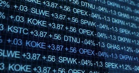 Blue Ominous Stock Market Ticker in futuristic environment