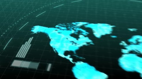 Seamless animation world map continents of America Asia Europe Africa Australia in  computer hologram. Scanning world map continent in business internet network or satellite technology concept loop