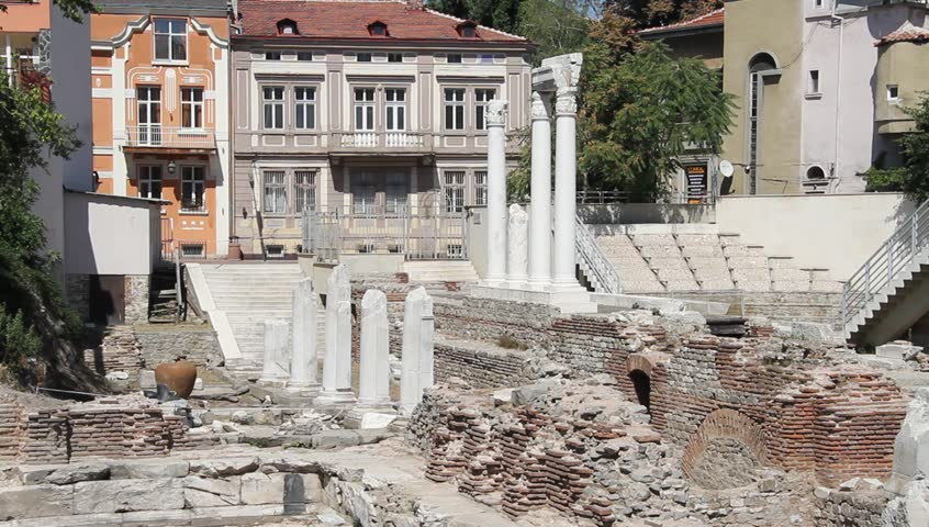 Ruins of Odeon in Plovdiv, Bulgaria