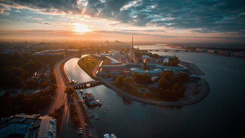 Aerial shot of the Peter and Paul fortress on Zayachy island, historical city center of Saint-Petersburg, Russia