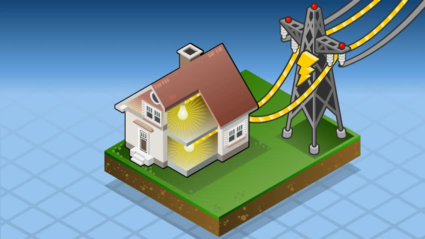 Detailed Animation Of A Isometric House With Offshore Wind