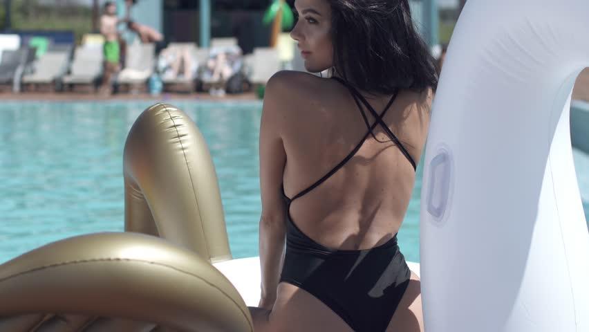 Close-up portrait of sexy girl in bikini