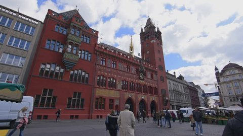 Basel, May 12: Total view of the city hall of Basel, Switzerland. The city hall in Basel is over 500 years old. Shot at the 12 May 2017.