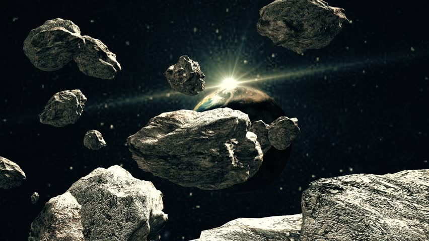 Asteroid Strike Over Earth. 3D Animation Of Meteor Impact ...