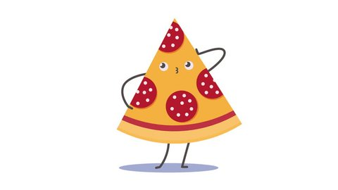 Piece of pizza posing like a fashion model. Looped animation.