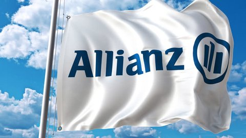 Waving flag with Allianz logo against moving clouds. 4K editorial animation