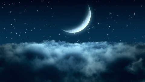 Flying Through Dense Clouds at Night with Beautiful Crescent Moon and Twinkling Stars in The Background Seamless Looping Motion Background Animated Video Backdrop Blue Cyan