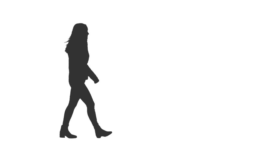Silhouette of young woman walks in the street, Side view, Full HD footage with an alpha channel