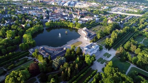 Aerial with of Dusseldorf Germany including famous Beneath Castle and Park