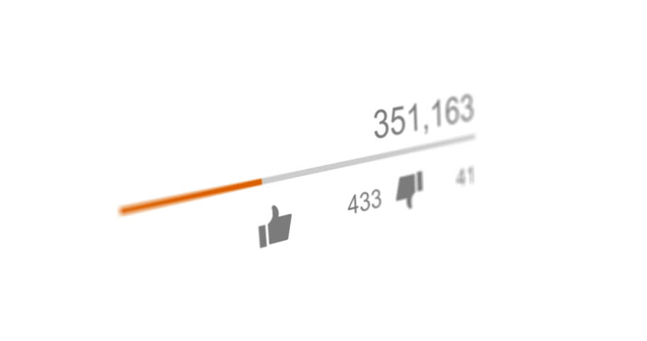 Animation of video views counter, counter of likes and dislikes close up. 4K video. Animation with alpha matte | Shutterstock HD Video #27957175