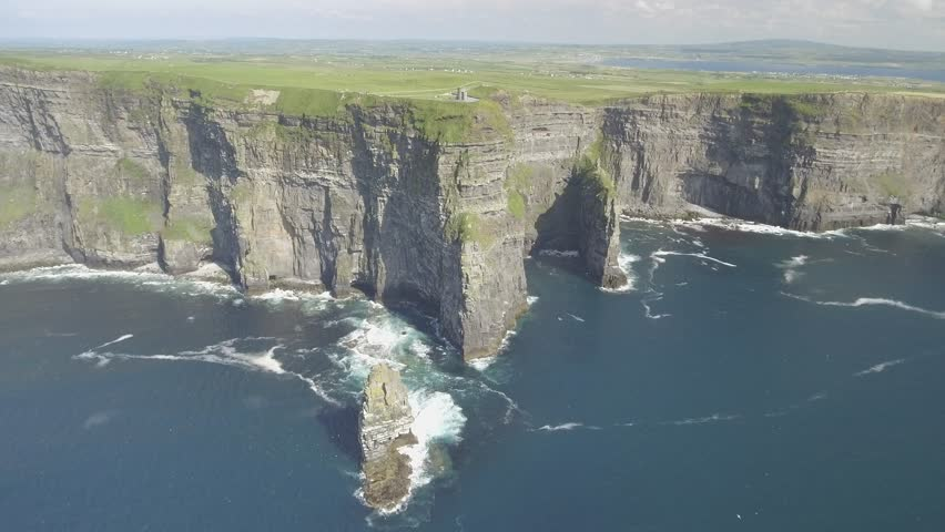 Birds eye aerial of The Cliffs of Moher , County Clare, Ireland. Epic Irish Landscape Seascape along the wild Atlantic way. Beautiful rural scenic nature from the West coast of Ireland.