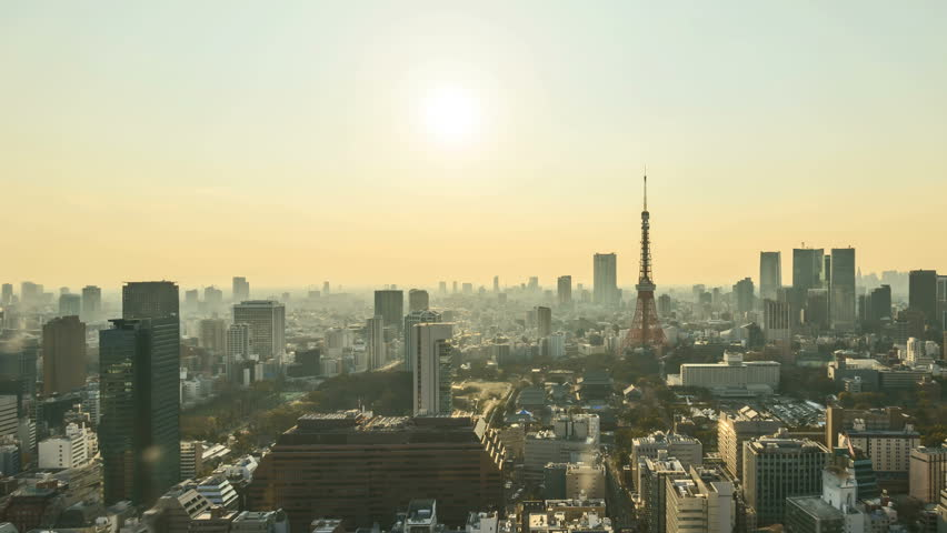 4k time lapse of day to night sunset scene at Tokyo city skyline with Tokyo Tower. Tilt down   Shutterstock HD Video #27960445