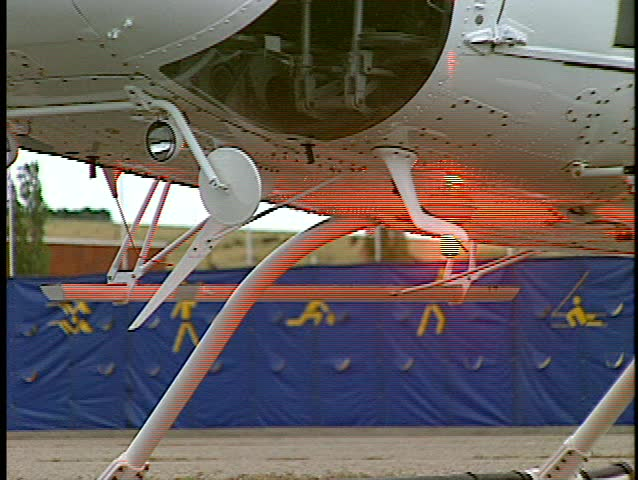close up under fuselage helicopter Bell 212 (BetacamSP, good audio)