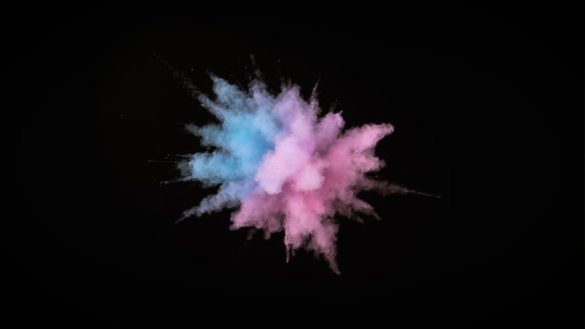 Colorful powder/particles fly after being exploded against black background. Shot with high speed camera, phantom flex 4K. Slow Motion. Included 2 different color versions.
