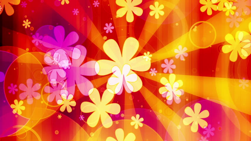 Bright Flowers Retro Looping Animated Background