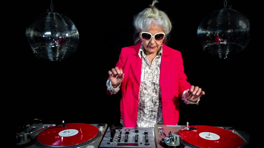 Amazing DJ grandma, in a disco setting.  this retired rockers will get the party going