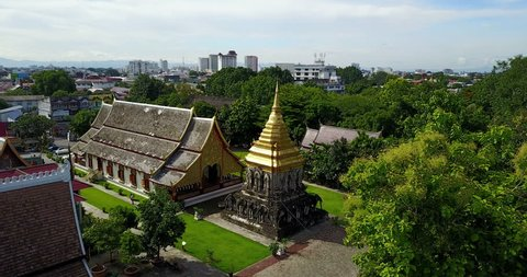 Aerial view temple at Wat Chiang Man the old history place in Chiang mai, Thailand.