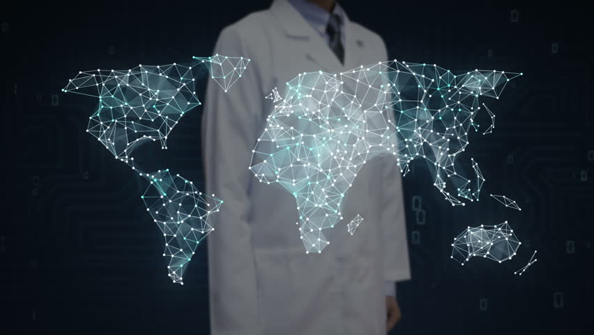 Robot cyborg touching dots gather to create global world map scientist engineer touching screen dots connecting line dots makes global world map gumiabroncs Image collections