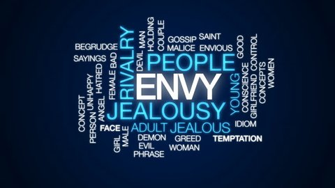 Envy animated word cloud, text design animation.