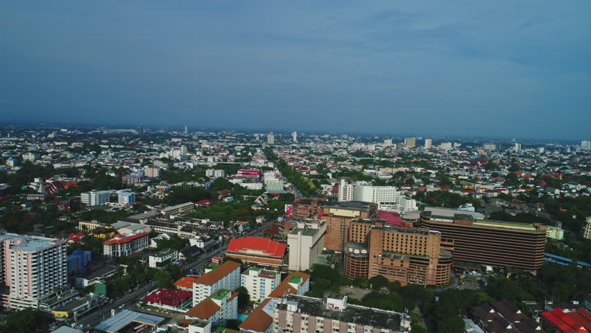 Chiang Mai, Thailand - May 25, 2017: Chiang Mai Aerial view showing leafy suburban Niman district of the city