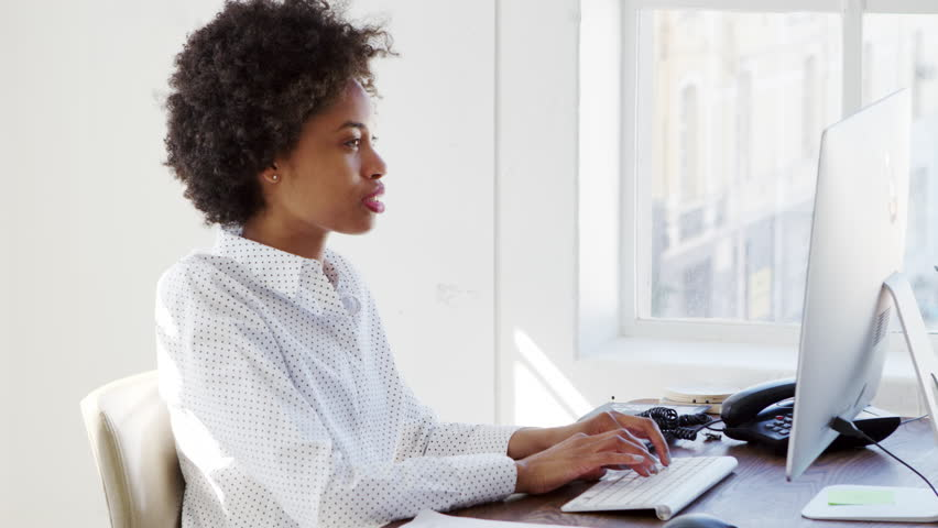 Young Black Woman Working At Stock Footage Video 100
