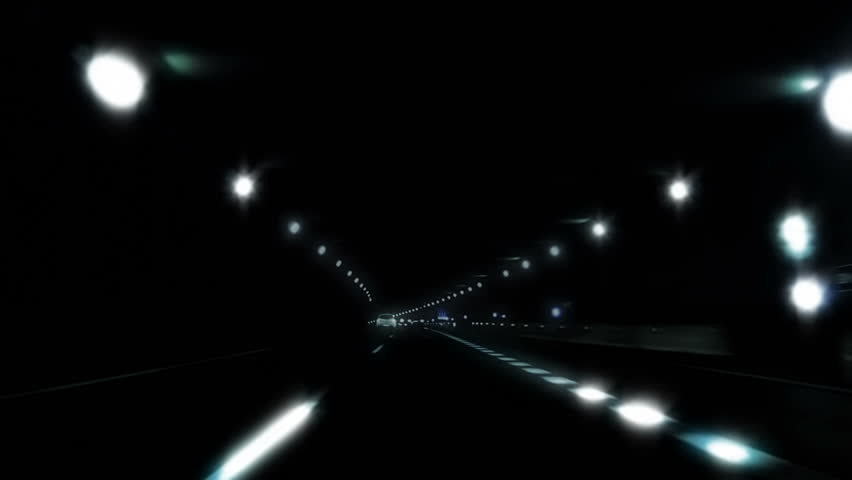 Night car trip on the highway seen from the car