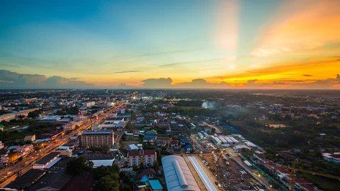 4k Day to night Time-lapse of Nakhon Ratchasima city at sunset, Thailand