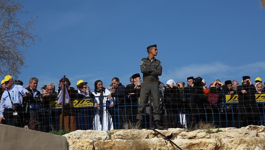 QASR AL YAHUD, ISRAEL - JANUARY 18: Israeli policemen of the Boarder Guard Unit