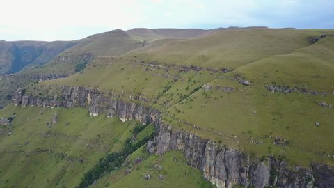 Aerial view from mountain range of the Drakensberg in South Africa