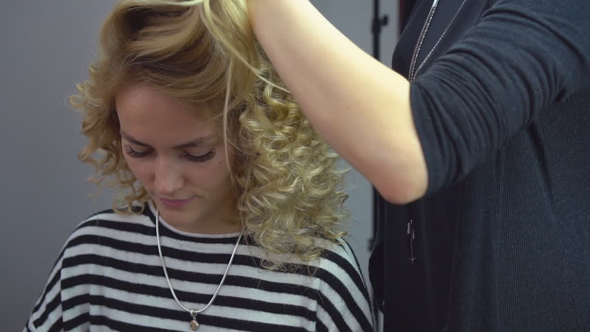 Hair Stylist Creating Hairstyle In Beauty Salon Stock Footage ...