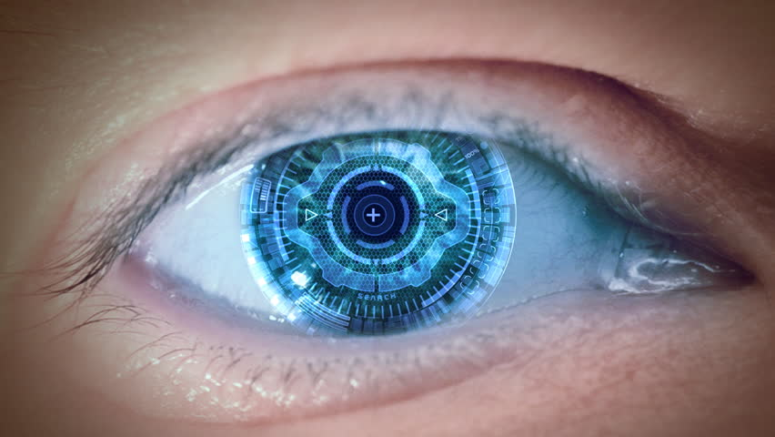 Close up to eyeball with futuristic 3d targeting system. Loop. | Shutterstock HD Video #2829679